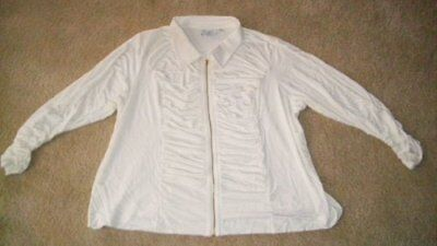 Linea By Louis Del O'lio Shirred Zip Blouse3xnwt