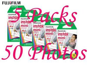 5 Packs FujiFilm Fuji Instax Mini Film,50 Instant Photos 7s 25 55 Polaroid 300