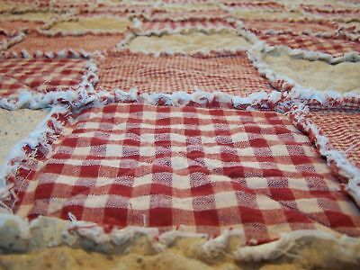Lap Size Homespun Country Red Rag Quilt Primitive Farmhouse Quilt Handmade in NJ