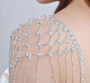 Sparkly Diamante Diamonte Detachable Shoulder Party PROM DRESS Gown BRA STRAPS