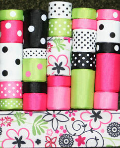 GROSGRAIN-RIBBON-LOT-FLOWER-MIX-5-25YDS-L31-FREE-US-SHIPPING