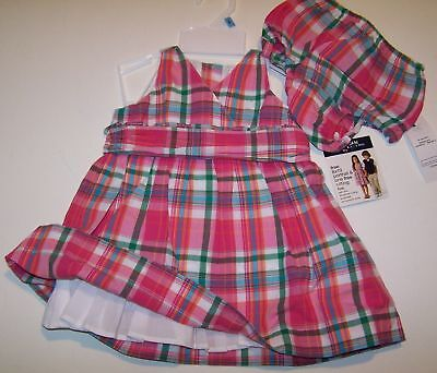 Rl American Living Pink Plaid Sun Dress Set 6 Mo