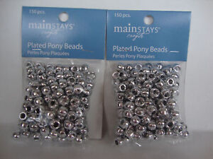 SILVER PLATED PONY BEADS 7mm x 9mm  - 2 BAGS = 300 BEADS