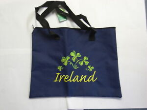 Irish St Patrick Day GREEN SHAMROCK NAVY TOTE BAG