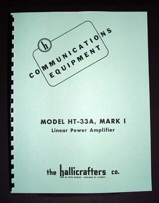 Hallicrafters Ht-33a Mk1 Ht33a Power Amplifier Manual