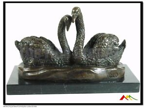 Milo Bronze two swans sculpture , marble base