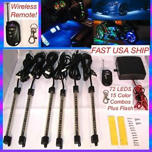 6-Piece-pc-MILLION-COLOR-LED-UNDER-GLOW-GOLF-CART-LIGHT-KIT-NEON-With-Remote