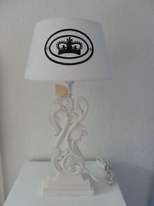 neu tischlampe lampenschirm shabby chic krone stickerei ebay. Black Bedroom Furniture Sets. Home Design Ideas