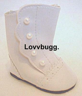 "Lovvbugg White Victorian Boots for 18"" American Girl or Bitty Baby Doll Shoes Accessory"