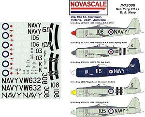 RAN Sea Fury Decals 1/72 Scale N72008