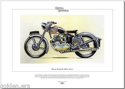ROYAL ENFIELD 500cc TWIN - Classic Motorcycle Fine Art Print - 1953 Motorbike