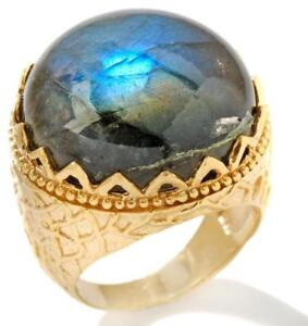 technibond real labradorite gemstone crown ring 14k yellow