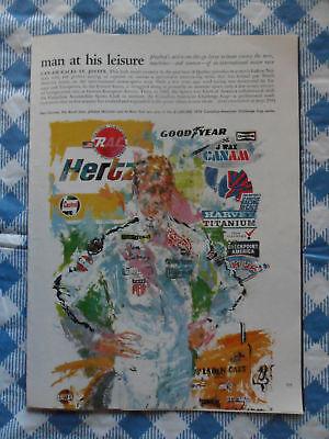 1970 Magazine Art Page / Article Leroy Neiman Can-Am Motor Car Races