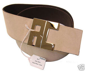 $440 NEW ROBERTO CAVALLI WOMENS BEIGE LEATHER BELT M