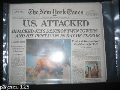 SEALED - WORLD TRADE CENTER - NEW YORK TIMES 9 11 01 Newspaper NY 12 September