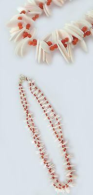 Wunderschönes Collier Aus Weißer Und Roter Koralle Korallencollier Halskette