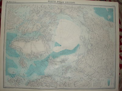 1920 LARGE MAP ~ NORTH POLAR REGIONS ~ 23 INCHES x 18