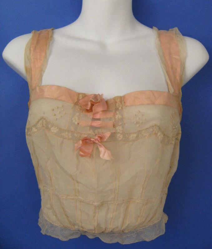 Antique Camisole Hand Sewn Button Back Pink Ribbon Ecru Underwear OOAK 1915