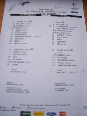 26/04/2006 Colour Teamsheet: European Cup Semi-Final, B