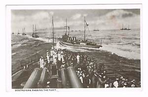 DESTROYERS PASSING THE FLEET Navy YMCA Postcard 1910's