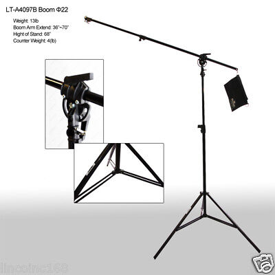 Photo Studio Light Arm Lighting Boom Stand Casters Background Support 00301