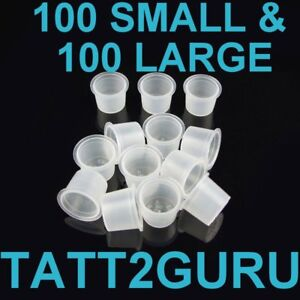100 Large & 100 Small Ink Caps Cups for Tattoo Ink
