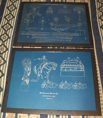 Antique International Firework Co Blue Print Folk Art Schenectady Ny Percy Water
