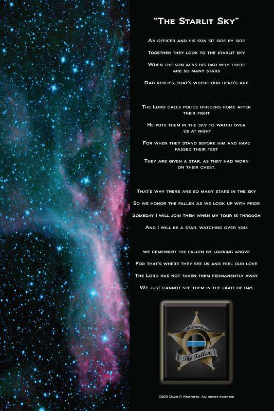 STARLIT SKY Law Enforcement Police Officer Memorial 9/11 9-11 Poem Poster Gift