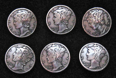 (6) SILVER MERCURY DIME CONCHO BUTTONS  (REAL DIMES) AUTHENTIC AMERICAN MADE, GU