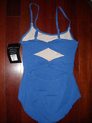 Ladies Twisted Back Leotard Iris Blue Camisole Med Gilda Marx Cotton Spandx
