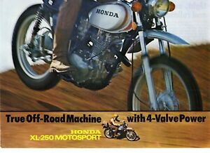 1972 HONDA XL250 KO  Motorcycle Brochure NOS