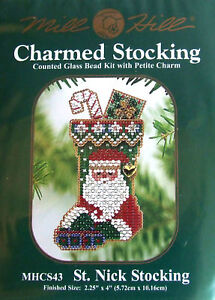 Mill Hill Cross Stitch Bead Kit Christmas 'St. Nick Stocking'