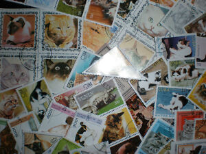 Cats, Cats, Cats-100 Different Cats Stamps