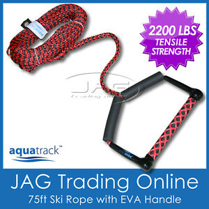 75FT-PRO-WATER-SKI-WAKEBOARD-ROPE-Red-Black-with-12-EVA-Handle-Floats