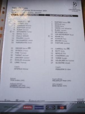 20/11/2001 Colour Teamsheet: Bayern Munich v Manchester