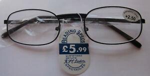 READING-GLASSES-HALF-EYE-BLACK-METAL-MENS-LADIES-IN-ALL-11-STRENGTH-U81