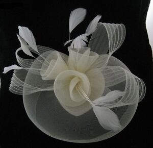 Cream-Wedding-Party-Ascot-Races-Hair-Accessories-Veil-Fascinator-Net
