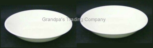 "2 CORELLE All Winter Frost White 8.3"" Coupe Soup Pasta Chili Salad Bowls Deep"
