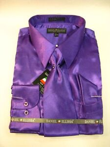 New-D-E-Satin-Dress-Shirt-w-Tie-and-Hanky-Purple-Rust