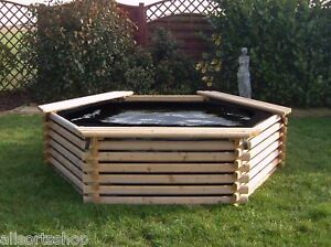 GARDEN POOL 300 GALLON & LINER. RAISED WOODEN FISH POND OUTDOOR WATER FEATURE