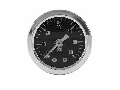 Liquid Filled Oil Pressure Gauge 0-60 Psi - Carbon Fiber Face -harley Davidson