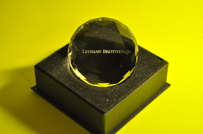 LEHMAN BROS ~ CRYSTAL PAPER WEIGHT  ~  EXECUTIVE DESK TOP GIFT!  ( BOGO OFFER )