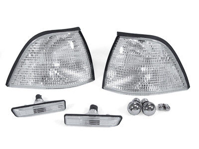 Depo 97-99 Bmw E36 2d Coupe/convertible Clear Corner+side Marker+chrome Bulbs M3
