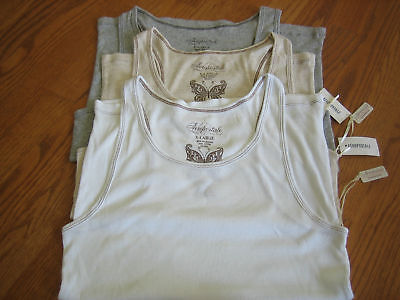 Aeropostale Tank Top, Cotton, White, Cream, Grey