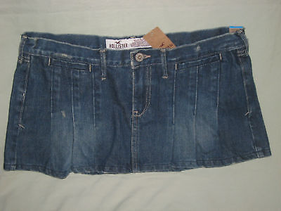 Hollister Co Pleated Jean Blue Mini Skirt Juniors 5