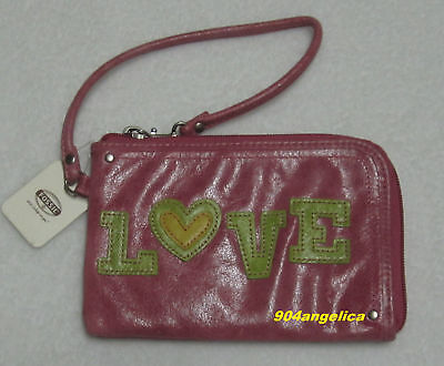 Fossil Candy Love Leather Zippered Wristlet Pink