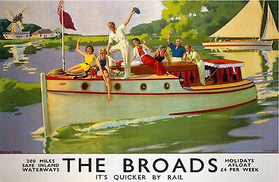 (Norfolk) Broads (old rail ad.) fridge magnet   (se)