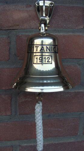 Titanic Wandglocke Messing Tür Glocke Schiffsglocke 30 cm incl.Seil Neu Maritim