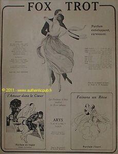 publicite parfums arys fox trot danse art deco 1921 ad ebay. Black Bedroom Furniture Sets. Home Design Ideas