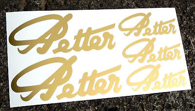 Petter Script Engine Logo Style Gold Sticker Decal Set
